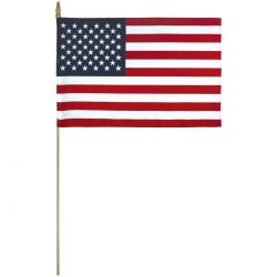 Lightweight Cotton US Mounted Flags w/Pointed Bottom Tip - 12 in X 18 in