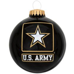 U.S. Army Glass Ball Ornament With Logo And Hymn