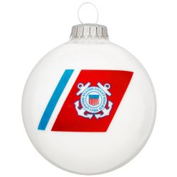 U.S. Coast Guard Glass Ornament With Logo And Hymn