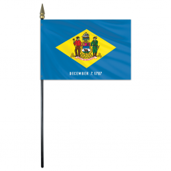 Delaware Stick Flags - 4 in X 6 in