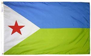 Nylon Djibouti Flag - 5 ft X 8 ft