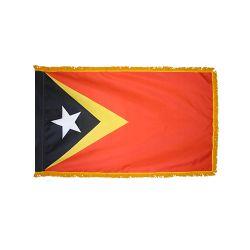 Indoor/Parade Nylon East Timor Flag with Fringe - 4 ft X 6 ft