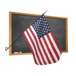 Premium Classroom U.S. Flag with Staff and Wall Bracket