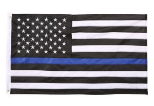 Premium Embroidered Thin Blue Line US Flag