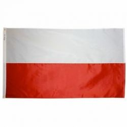 Nylon Poland Flag (No Eagle) - 2 ft X 3 ft
