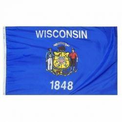Nylon Wisconsin State Flag - 12 in X 18 in