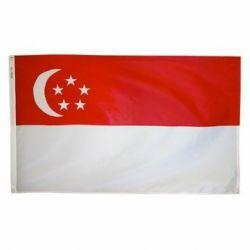 Nylon Singapore Flag - 3 ft X 5 ft