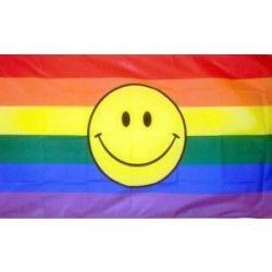 Rainbow Happy Face Flag - 3 ft X 5 ft