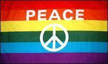 Rainbow Peace Sign Flag - 3 ft X 5 ft