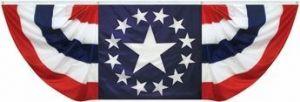 Nylon Pleated Patriotic Star Fan - 3 ft X 9 ft