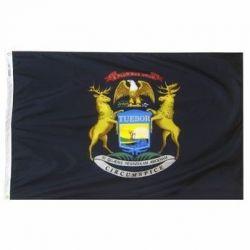 Nylon Michigan State Flag - 12 in X 18 in