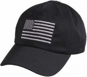 Black Tactical Operator Cap With US Flag