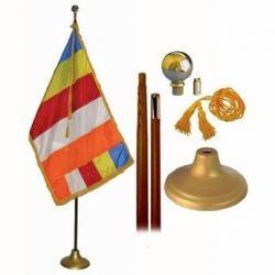 Deluxe Buddhist Flag Set - 8 ft