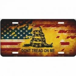 Gadsden / U.S. Flag Don't Tread On Me License Plate