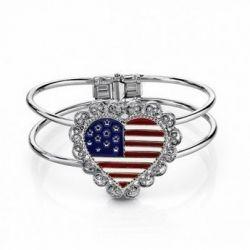 Heart-Shaped American Flag Bangle Bracelet