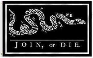 Join Or Die Flag - Black