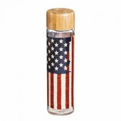 Land of Liberty Glass Water Bottle with Bamboo Lid
