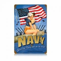 Navy Pin-Up Vintage Metal Sign