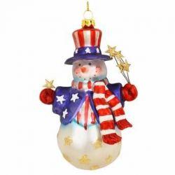 Patriotic Snowman With Stars Ornament