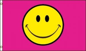 Pink Smiley Face Flag