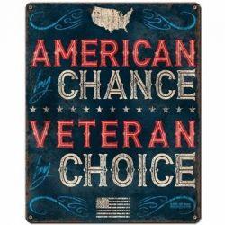 Veteran By Choice Vintage Metal Sign