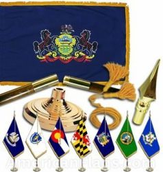 Indoor Mounted Pennsylvania State Flag Sets