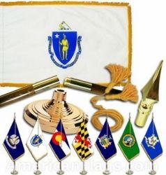 Indoor Mounted Massachusetts State Flag Sets