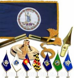 Indoor Mounted Virginia State Flag Sets
