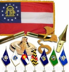 Indoor Mounted Georgia State Flag Sets