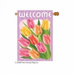 Welcome Tulips Indoor/Outdoor Flag