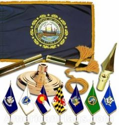 Indoor Mounted New Hampshire State Flag Sets