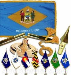 Indoor Mounted Delaware State Flag Sets