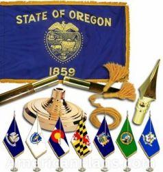 Indoor Mounted Oregon State Flag Sets