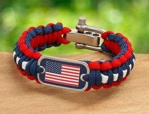 US Flag Survival Bracelet