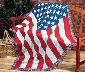 Cotton USA Flag Afghan Blanket - 4 ft X 6 ft