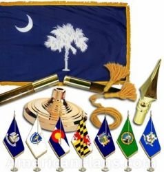 Indoor Mounted South Carolina State Flag Sets