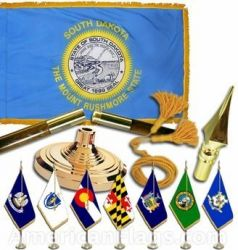 Indoor Mounted South Dakota State Flag Sets