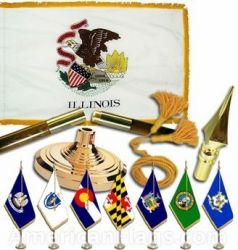 Indoor Mounted Illinois State Flag Sets