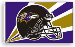 Baltimore Ravens Helmet Flag - 3 ft X 5 ft