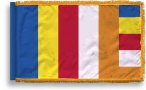 Fringed Buddhist Flag - 3 ft X 5 ft