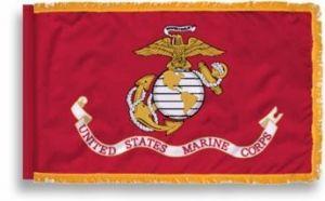 Fringed Colonial Nyl-Glo USMC Flag - 3 ft X 5 ft