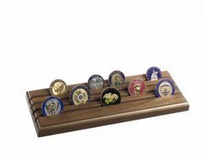 Walnut Challenge Coin Display - 4-Row