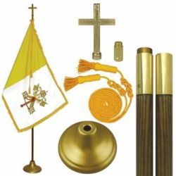 Deluxe Papal Flag Set - 7 ft