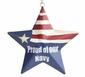Proud Of Our Navy Metal Star Ornament