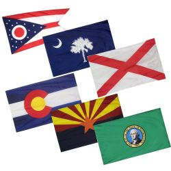 Complete Set of 50 Pole Sleeve Nylon Indoor/Parade State Flags - 2 ft X 3 ft