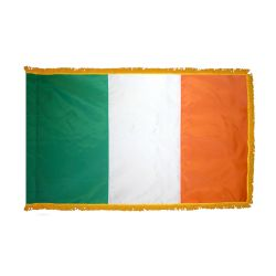 Indoor/Parade Nylon Ireland Flag with Fringe - 3 ft X 5 ft