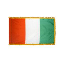 Indoor Nylon Ivory Coast Flag with Fringe - 3 ft X 5 ft