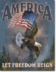 America Let Freedom Reign Vintage Tin Sign