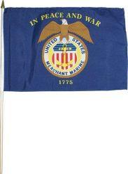 Merchant Marine Stick Flag - 12 in X 18 in
