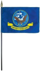 Navy Stick Flag - 8 in X 12 in